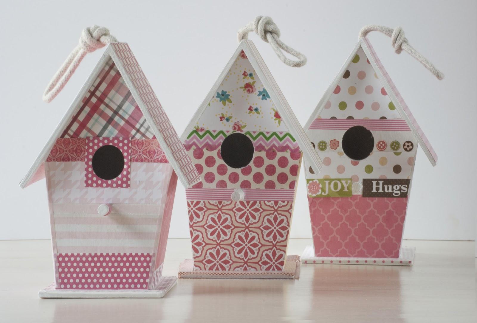 Tutorial casita de madera decorada con papel - Casita para pajaros ...