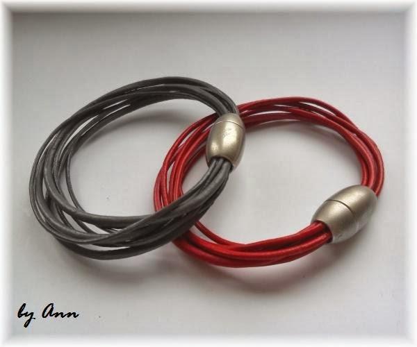 bransoletka szara czerwona magnes