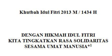 Contoh Khutbah Idul Fitri 1434 H / 2013 M