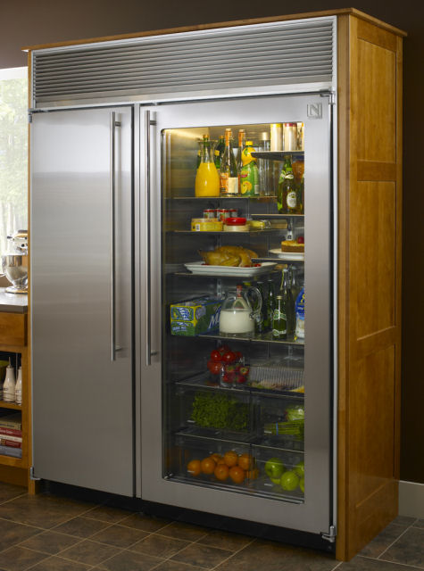 This $11,000 Northland refrigerator is very unique,but yet simple. It has  side-by-side refrigerator/freezer, a glass door and stainless steel wrap,  ...