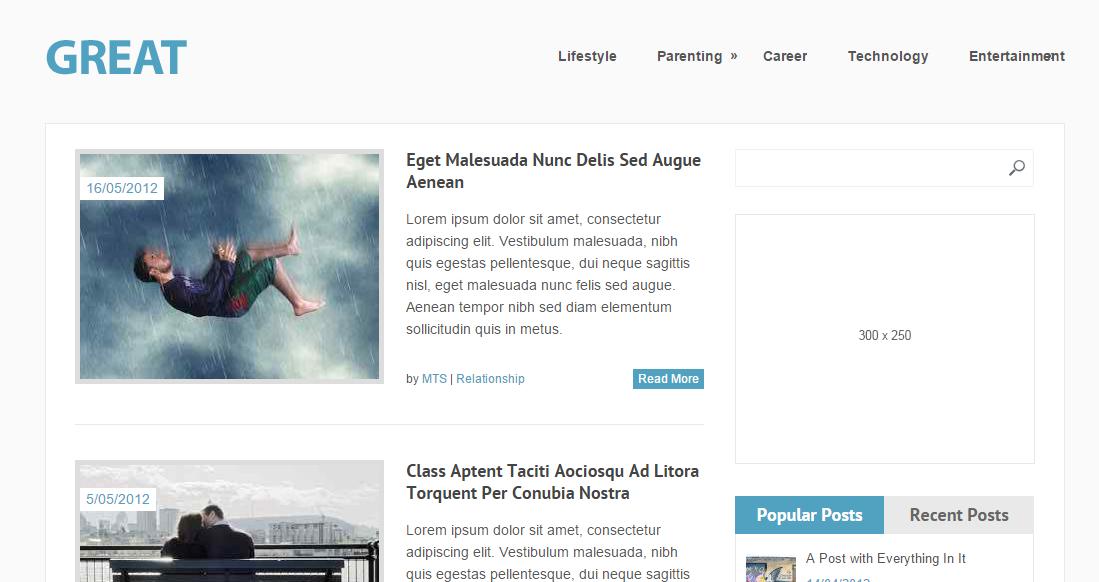 Great - free responsive blog WordPress theme