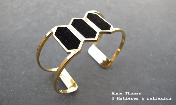 Anne Thomas Bracelet Hexagone noir