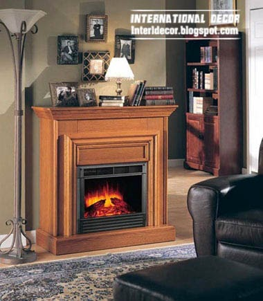 wood fireplace for classic interiors, fireplace designs