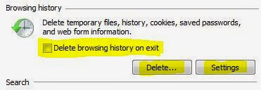 deleting browsing history in internet explorer