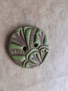 Large green Polymer clay button with brown printed design