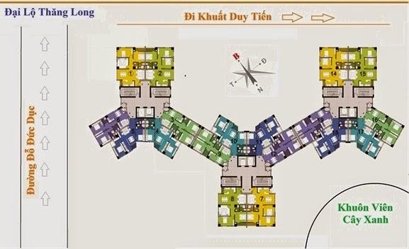 Mặt bằng sàn căn hộ CT1 Trung Văn từ tầng 2 đến tầng 21