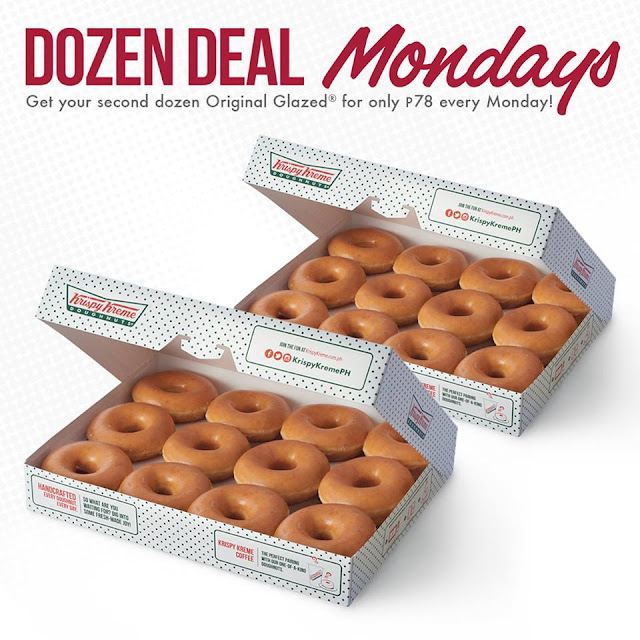 Krispy Kreme Double Dozen Mondays: Buy One Box of Original Glazed Doxunts and Get a Second Dozen for 78 Pesos