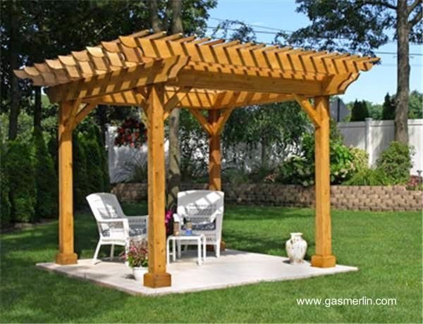 Pergolas de madera jardin type for Como hacer un kiosco de madera