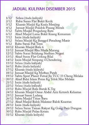 Jadual Kuliah Ustaz Azhar Idrus Bulan DISEMBER 2015