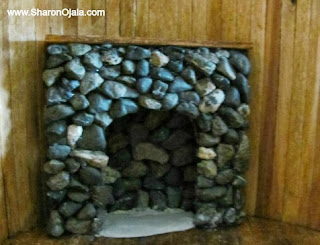 part of stone fireplace