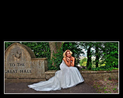 HDR bride on wall - Redworth Hall