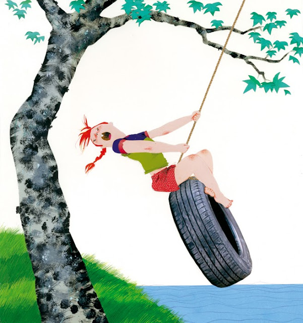 illustration of a little girl on a tire swing by a lake