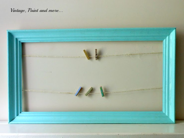 Vintage, Paint and more... DIY Dorm Decor - painted thrift store frame with twine and clothespins used for a photo frame