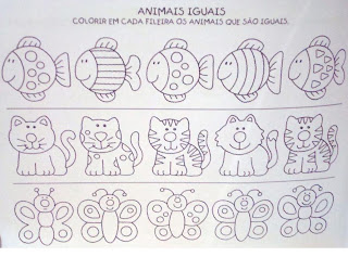 Atividades para Educação Infantil - Colorir os animais iguais