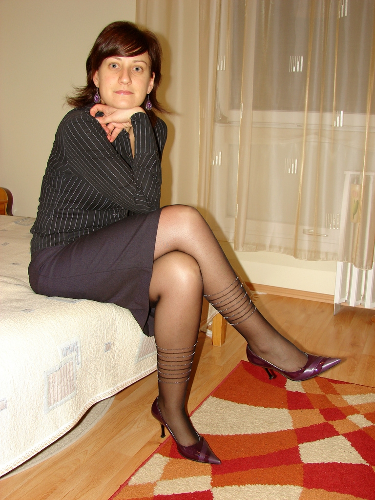 Wonderful  Sheer Pantyhose And Short Skirt For This Sexy GirlWoman In Pantyhose