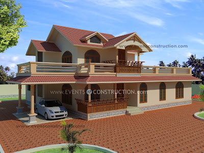 Evens Construction Pvt Ltd Sloped Roof House Elevation Design