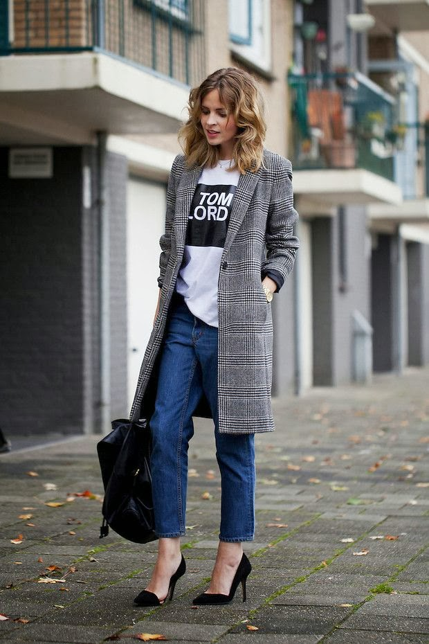 Long coat and blue jeans