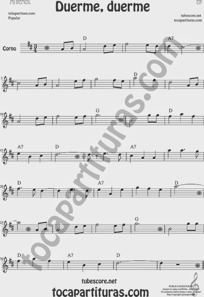 Duerme Duerme Partitura Popular de Trompa y Corno Francés en Mi bemol Sheet Music for French Horn Music Scores