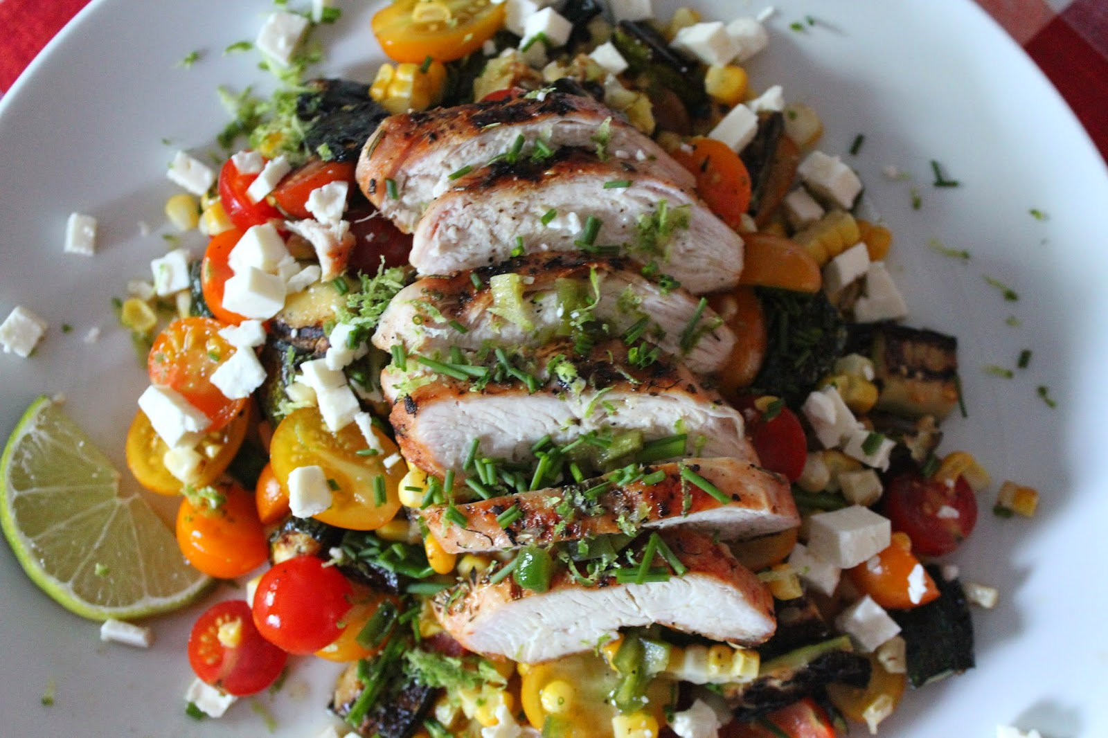 Grilled chicken and corn salad with feta and jalapeño-lime dressing