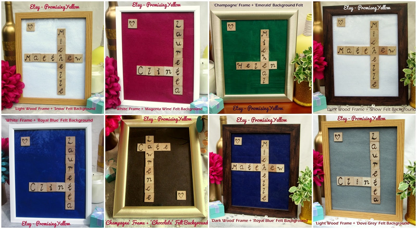 Wooden frames with felt background etsy. Bespoke personalised and unique gifts for couples. Calligraphy names woodburned onto scrabble tiles. Birch wood customised. Romantic gift for sale on Etsy. Gold frame, dark wood, pale wood and white frames.