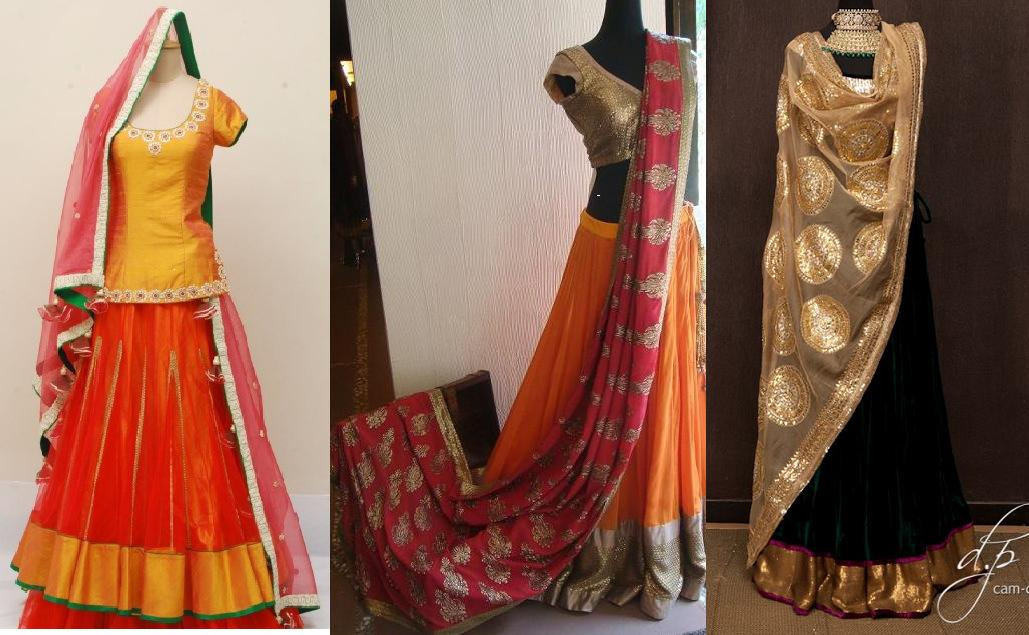 Lehenga For Mehndi Ceremony : Orange and pinkk mehndi sangeet lehenga inspirations