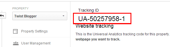 Copy Your Google Analytics Tracking ID