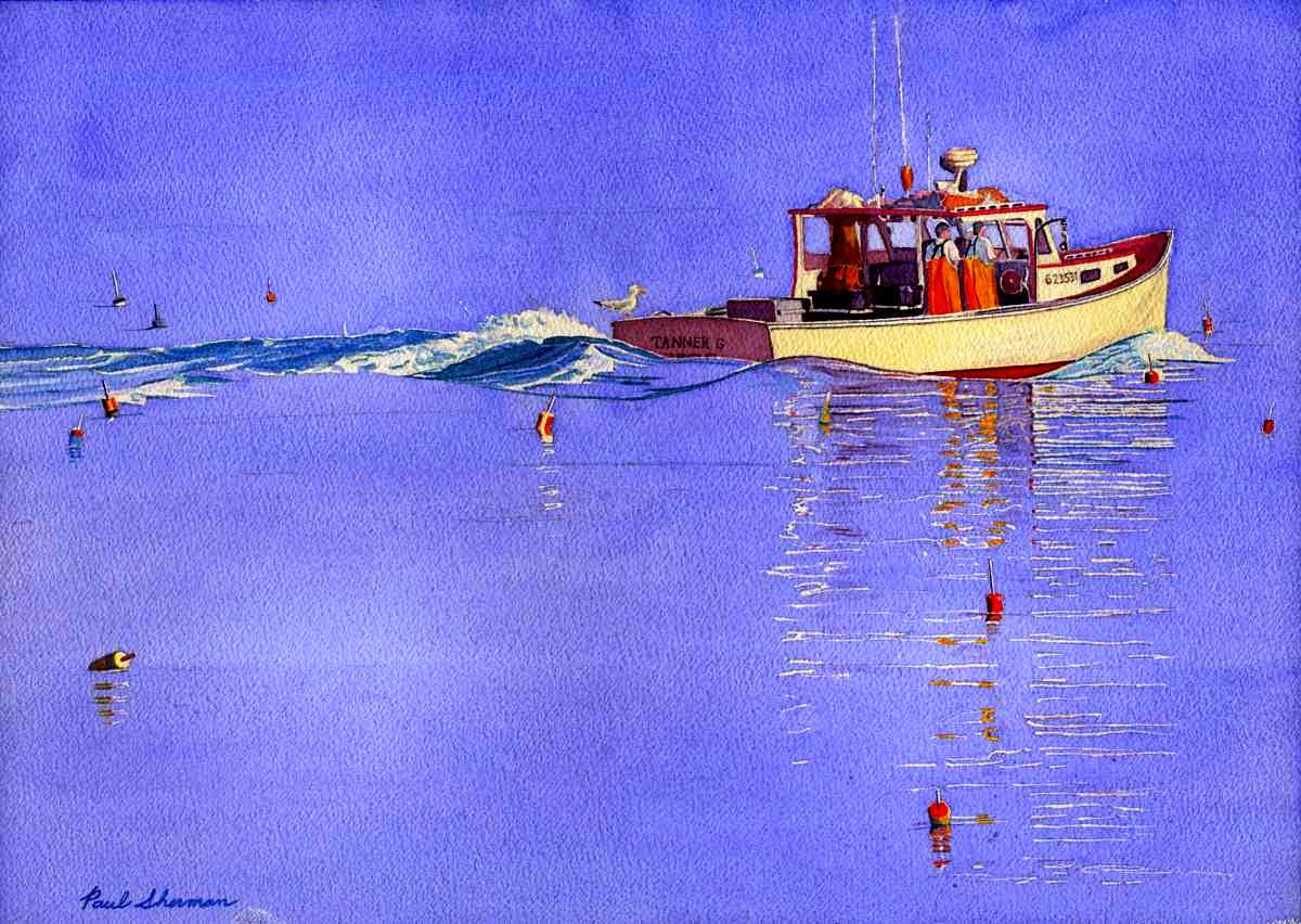 "Tanner G Lobster Boat - Watercolor 14"" x 20"""