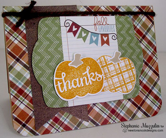 Fall Thanks pumpkin card by Stephanie Muzzulin | Pick-a-Pumpkin stamp set by Newton's Nook Designs #newtonsnook #pumpkin
