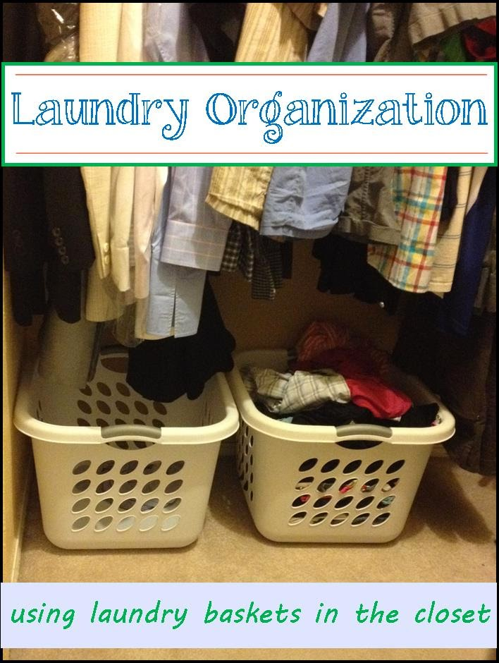 Use laundry baskets in the closet to organize and collect dirty laundry - www.lifeinrandombits.com