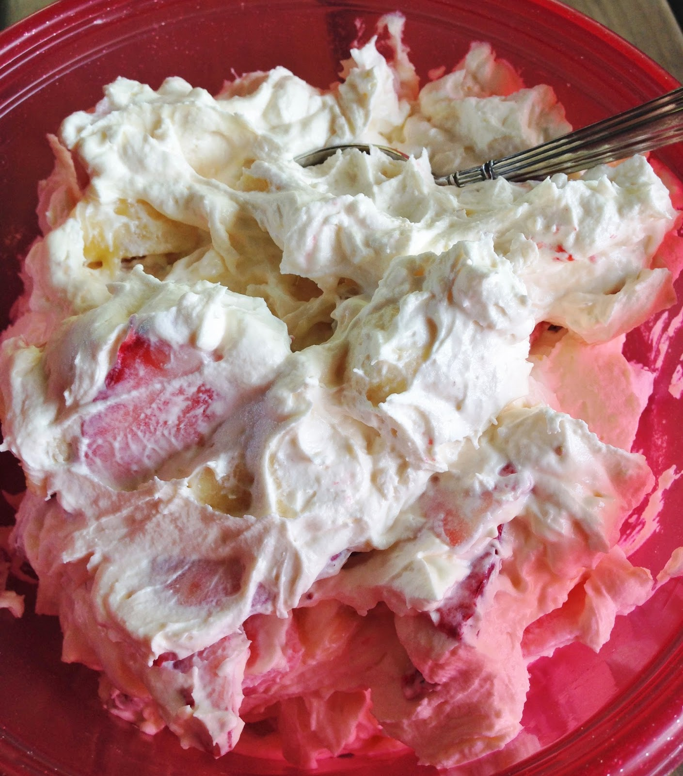 ... with learning activities at home: Strawberry-Banana Cheesecake salad