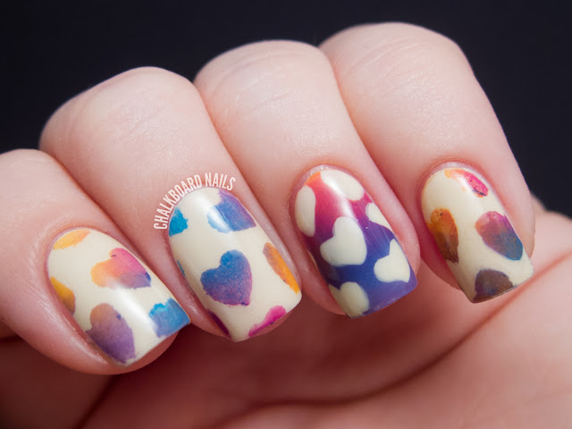 Chalkboard Nails: DIY heart stencils for nail art