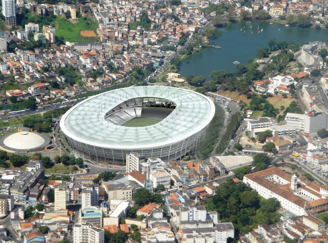 Vista aérea da Arena Fonte Nova, em Salvador