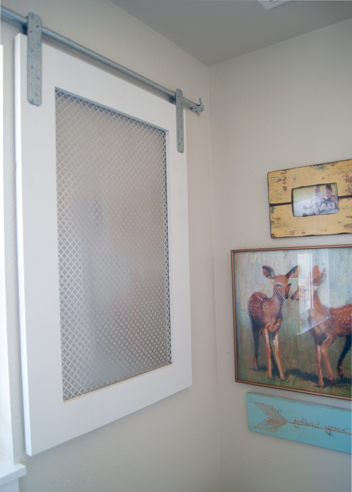 Bathroom Window Molding project kid's bathroom: diy barn door window cover for the