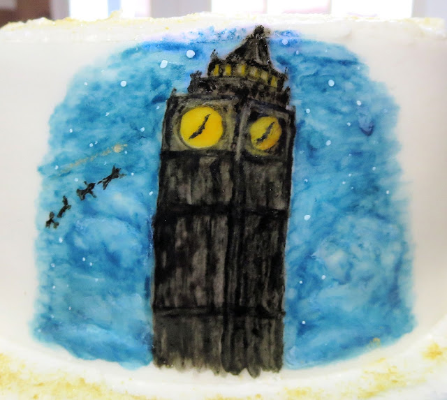 Hand Painted Peter Pan Cake - Close Up of Big Ben Clock Tower Scene
