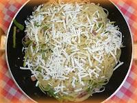 Spaghetti pancetta, zucchine, salmone e cacio ricotta