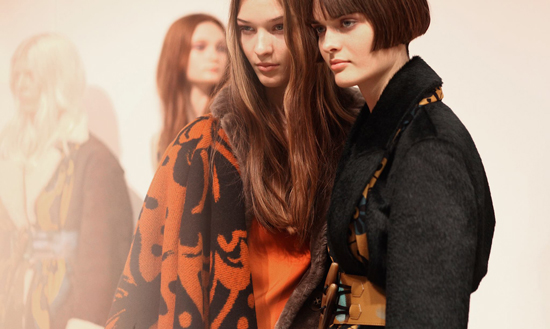 Elena Bartels and Sam Rollinson backstage at Burberry Prorsum Autumn Winter 2014 fashion show