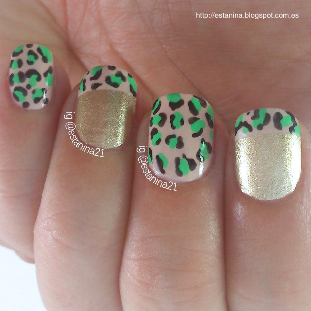 Uñas-Leopardo-doradas-y-verde