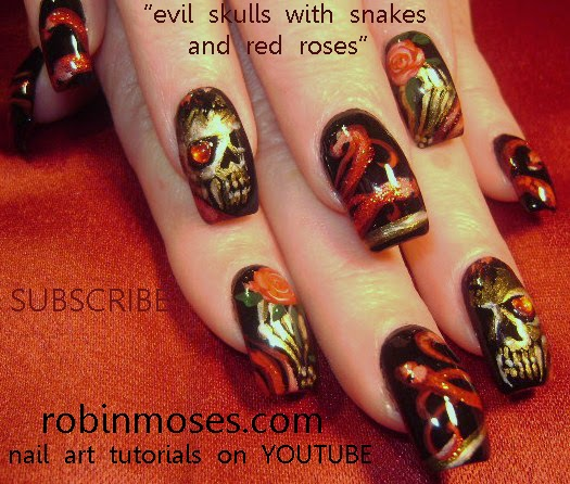 Robin moses nail art skeleton nails halloween nails search robin moses skulls and skeletons on youtube for almost 100 skeleton and skull ideas d xoxoxo purple rose nail art prinsesfo Images