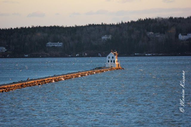 rockland breakwater at sunset