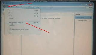 10. Pada Jendela baru pilh file lalu klik Add-Remove Snap-in....