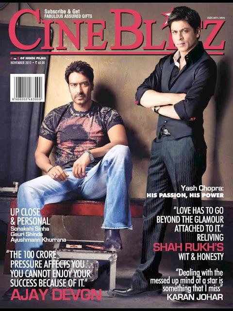 Shah Rukh Khan & Ajay Devgan on the Cover of Cineblitz -November 2012