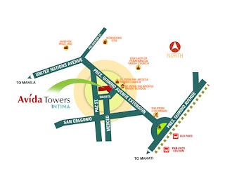 Avida Towers Intima Location Map