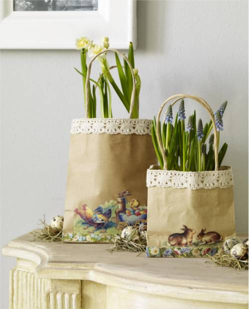 Decoupage Shopping Bag Easter Baskets by Wunderweib