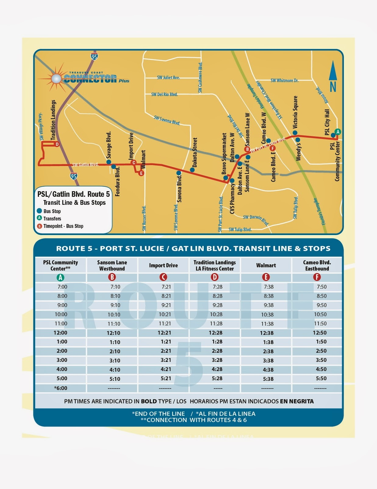 treasure coast connector route 5 map and timetable