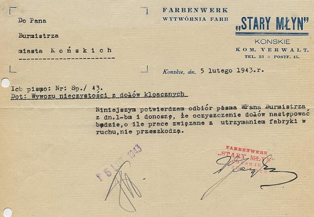 Fabryka funkcjonowała również w latach okupacji. Pismo na papierze firmowym z 5.02.1943 do burmistrza miasta Końskie. Czy ktoś z czytelników wie: kto był wtedy burmistrzem miasta? Dokument w zbiorach KW.