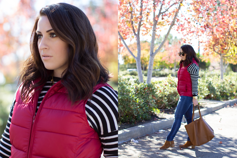 bcbg striped sweater, red puffer vest