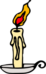 Burning candle clipart with dripping wax