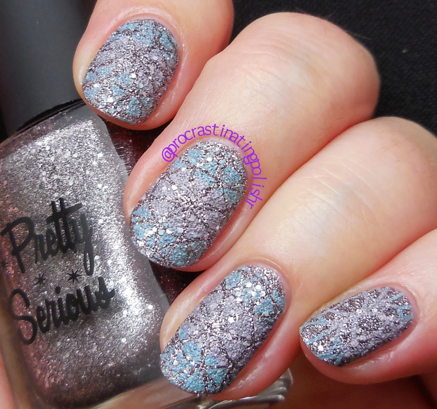 Stamping over textured polish (Pretty Serious Robot Monster)
