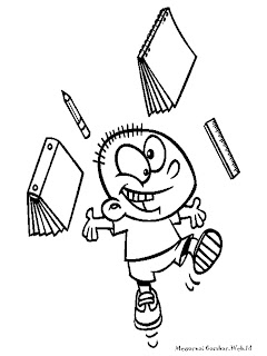 Mewarnai Kartun Anak Sekolah Yang Senang Belajar