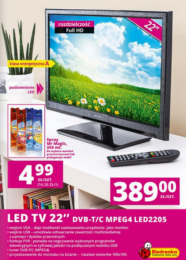 Telewizor Manta LED2205 z Biedronki ulotka